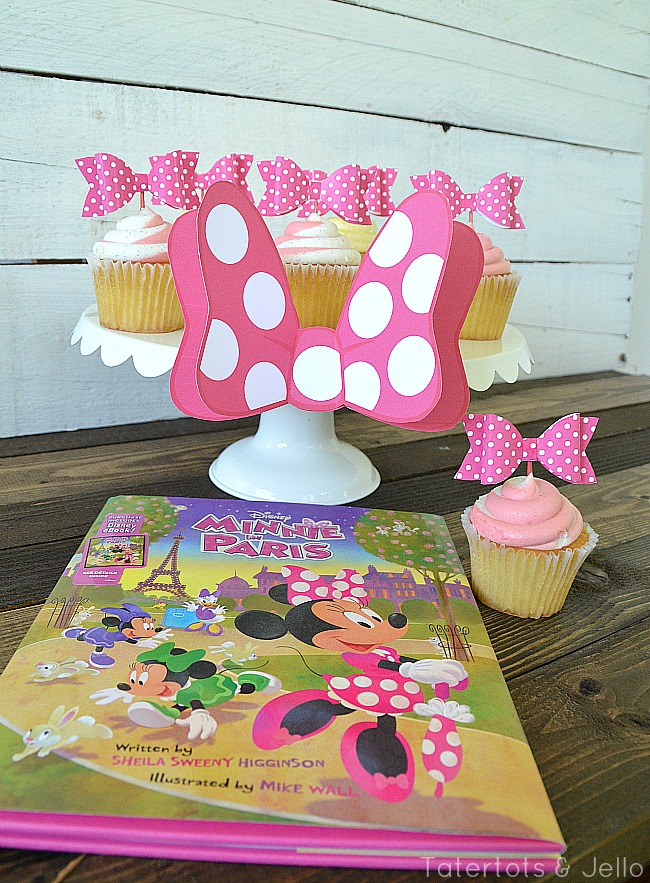 minnie in paris free bow cupcake toppers