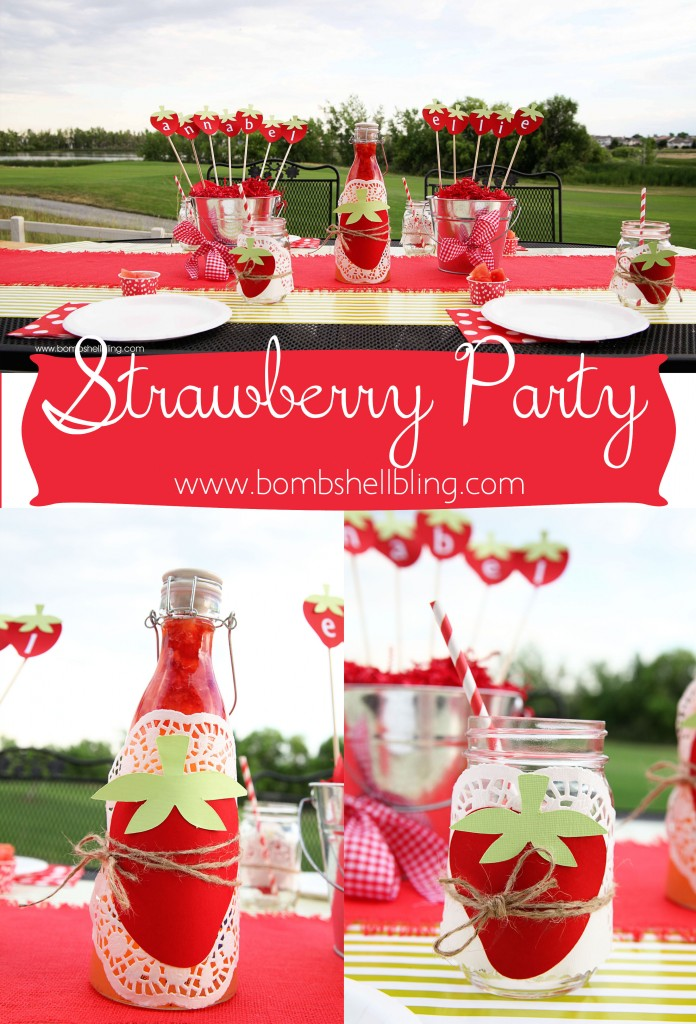 Strawberry Themed Birthday Party at Bombshell Bling