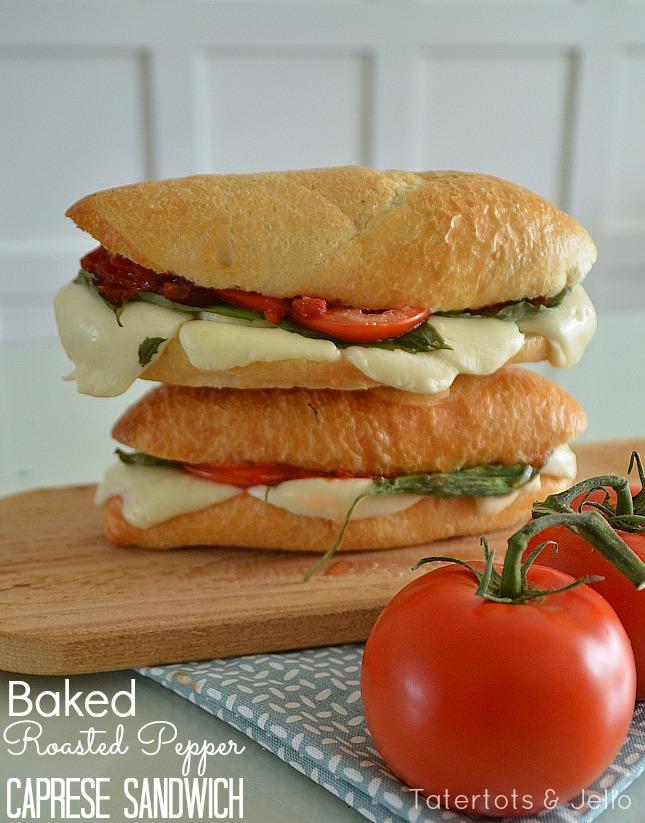 baked roasted pepper caprese sandwich