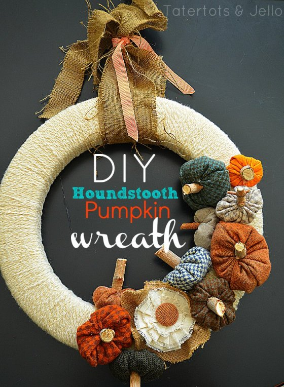 fall houndstooth pumpkin wreath