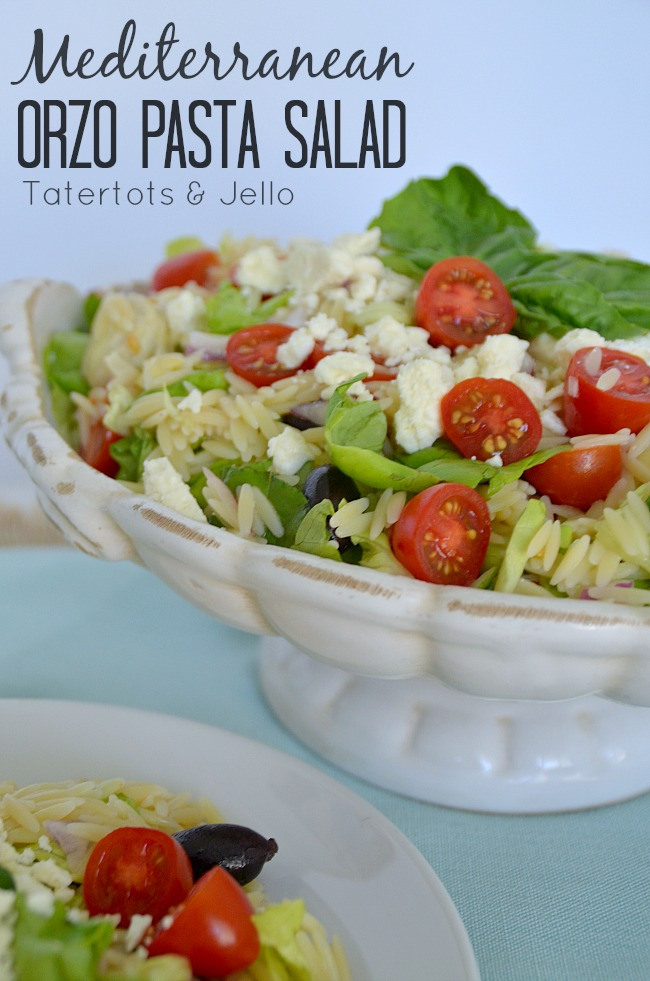 mediterranean orzo pasta salad recipe at tatertots and jello