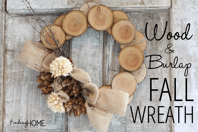 wood and burlap fall wreath