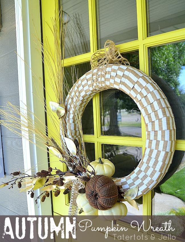 autumn pumpkin wreath tutorial at tatertots and jello