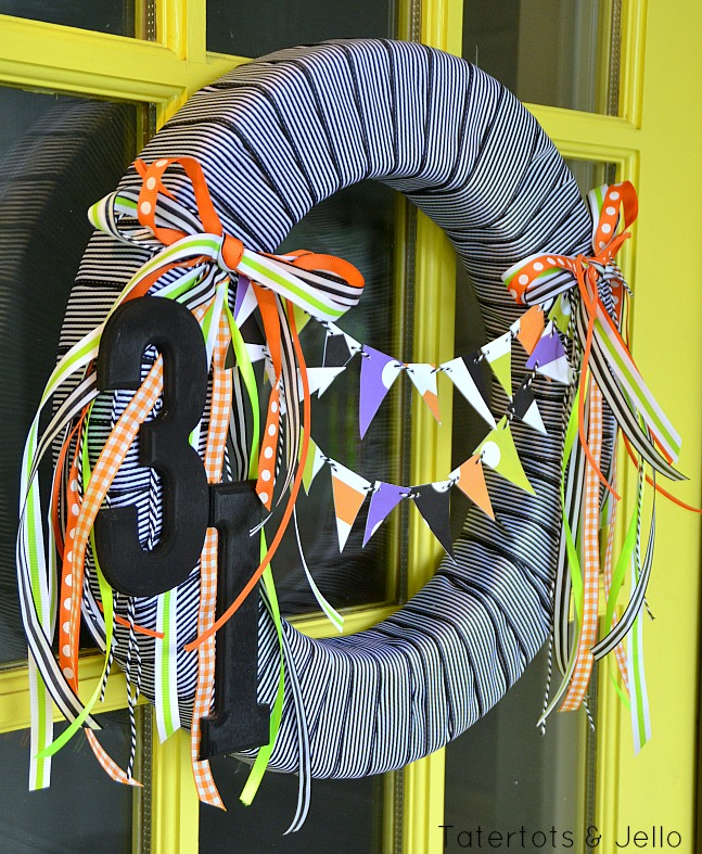 free printable halloween bunting wreath at tatertots and jello
