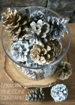 Spray Painted Pinecone Centerpiece