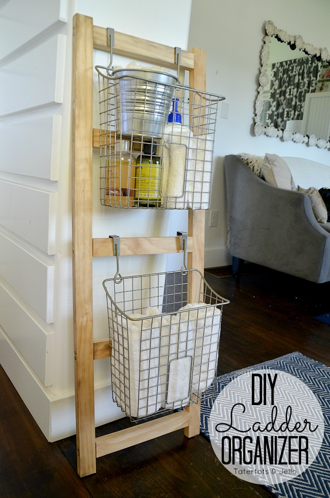 diy ladder organizer at tatertots and jello