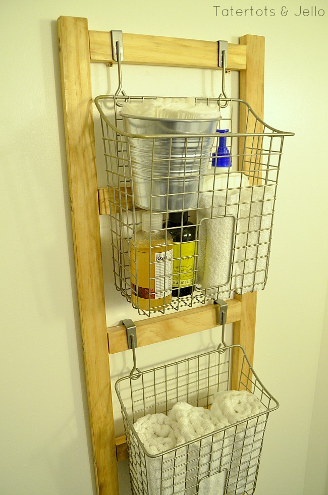 diy ladder organizer wood tutorial at tatertots and jello
