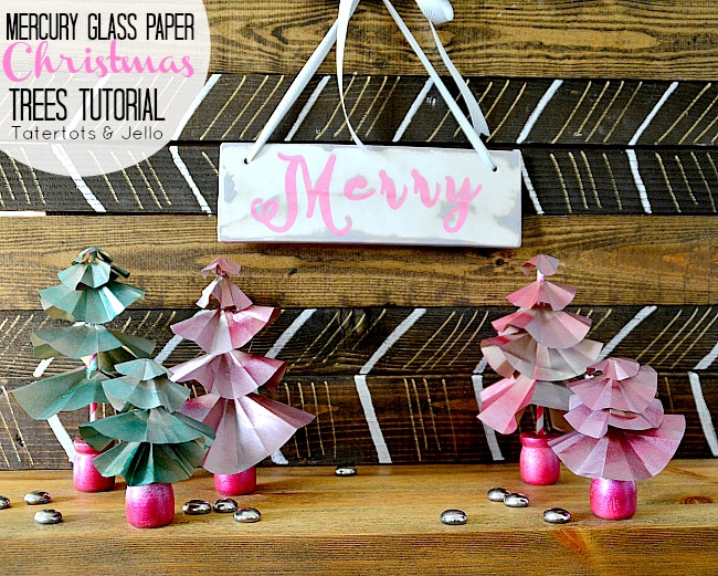 mercury glass paper christmas trees tutorial at tatertots and jello