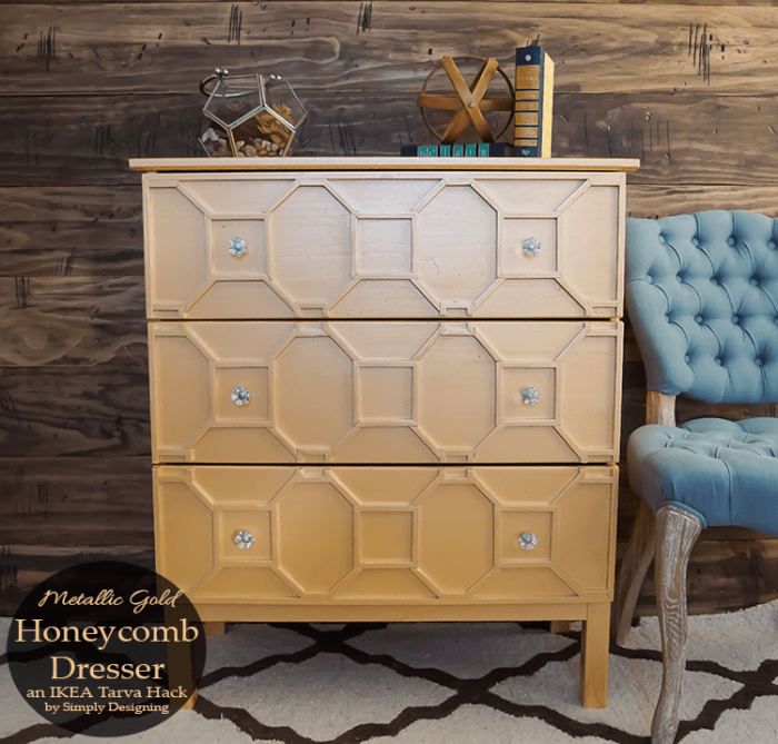 Metallic-Gold-Honeycomb-Dresser