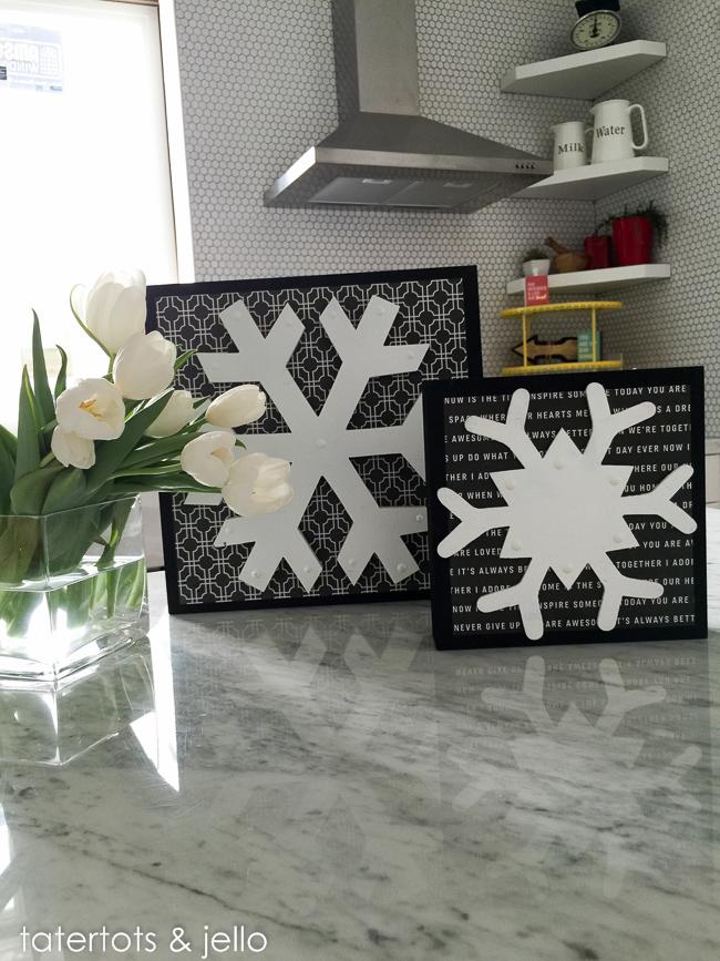 flocons de neige noir et blanc