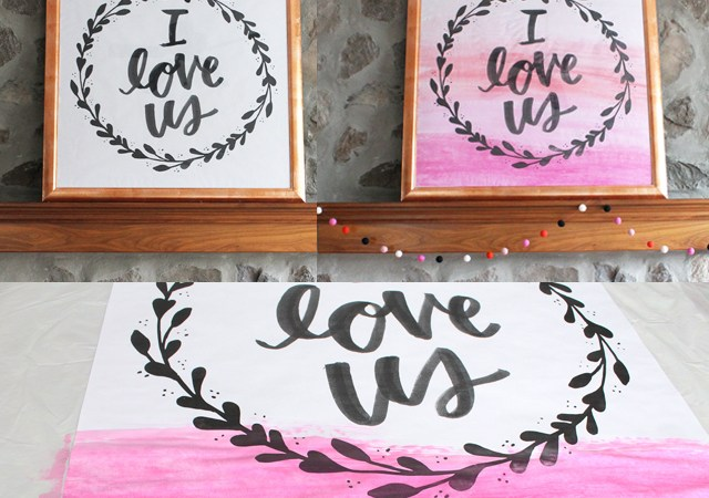 DIY Faux Watercolor Art for Valentine's Day!