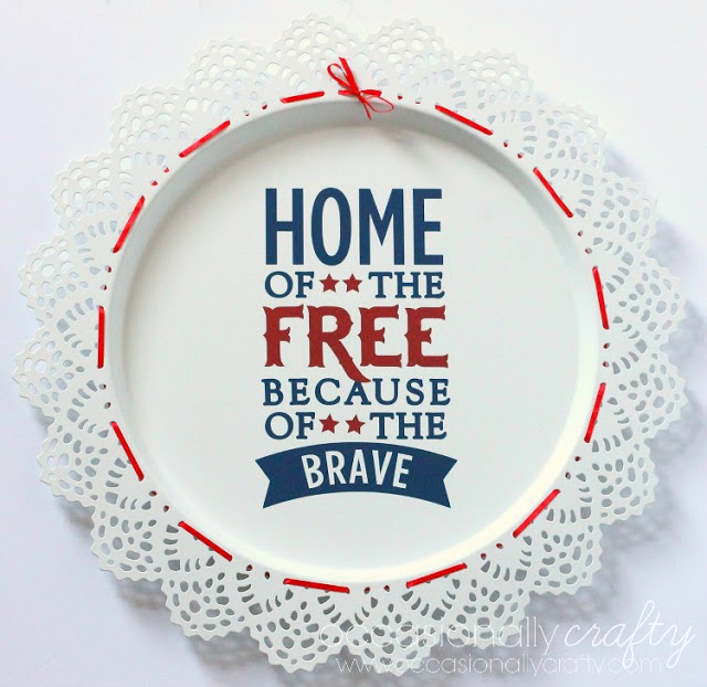 Home of the Free Patriotic Vinyl Charger