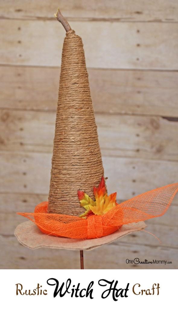 Rustic Witch Hat Craft #halloweencraft #witchcraft #rustichalloween