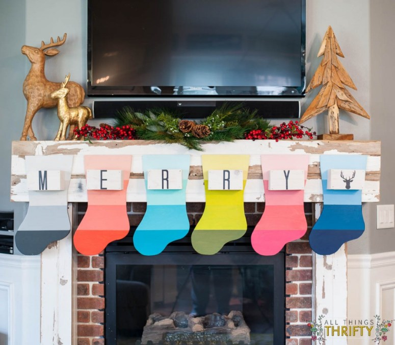 Christmas-Mantle-with-Colorful-DIY-Stockings