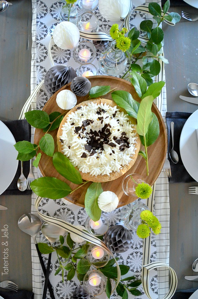 black white and green new years table