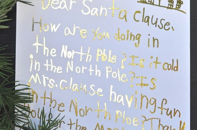 Happy Holidays: DIY Gold Foil Letter to Santa