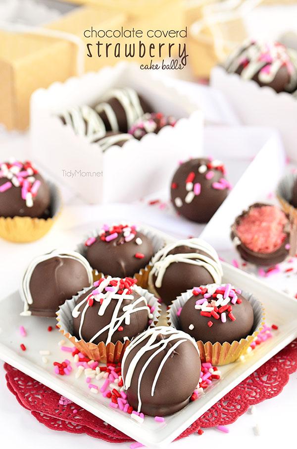 Chocolate Covered Strawberry Cake Balls #recipe at TidyMom.net #ValentinesDay