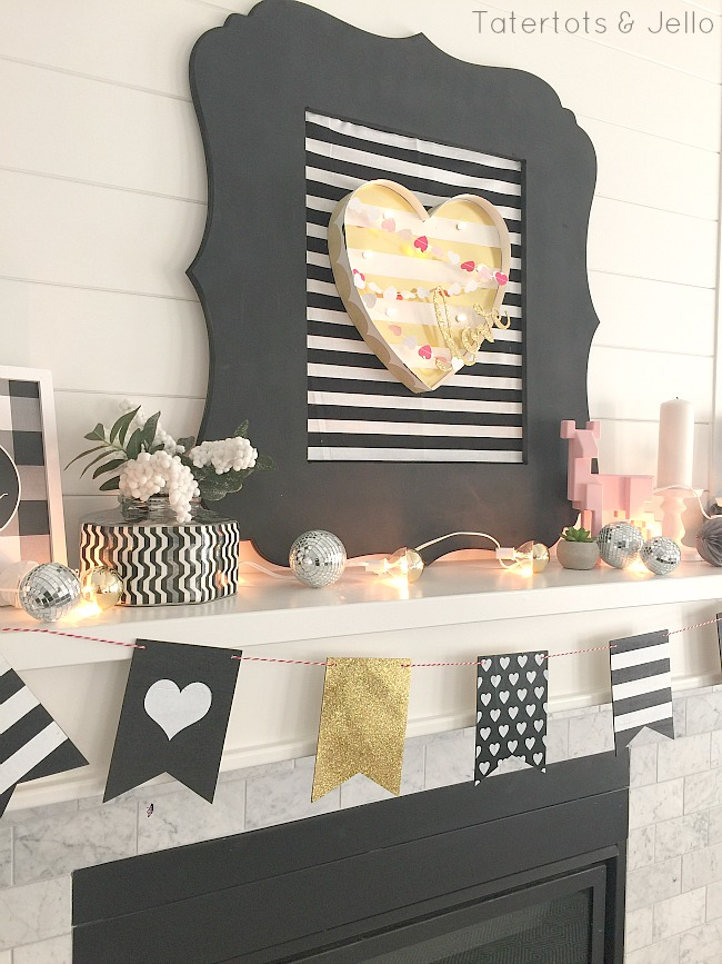 Black and white valentines day decor