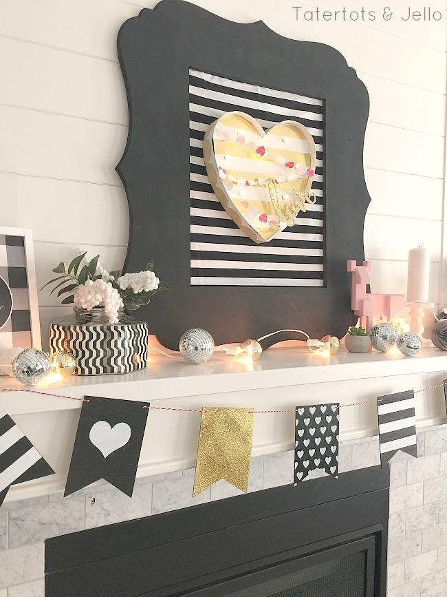 Black and white valentines day decor