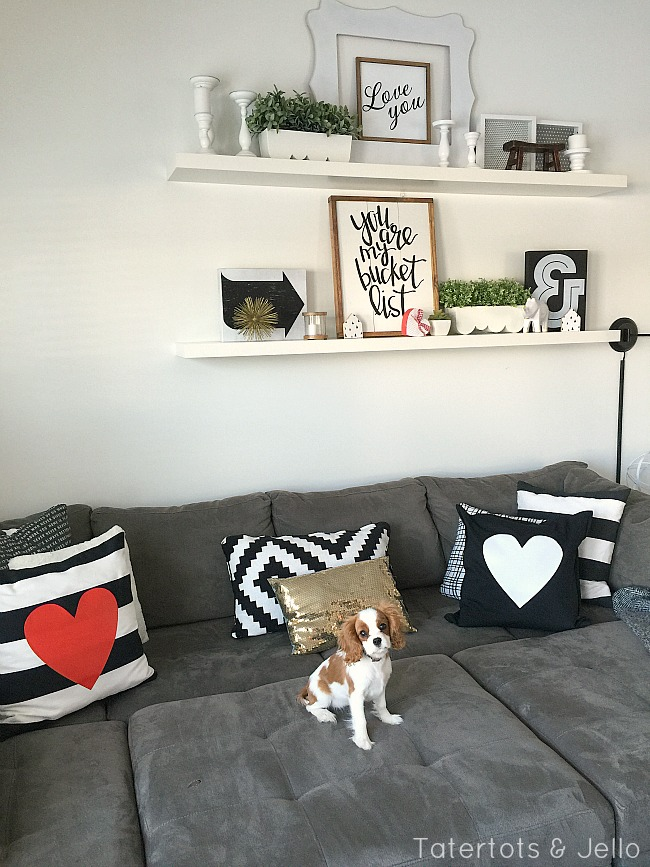 Black and white heart pillows