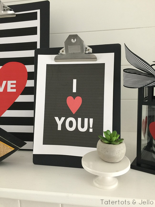 I love you black and white printables