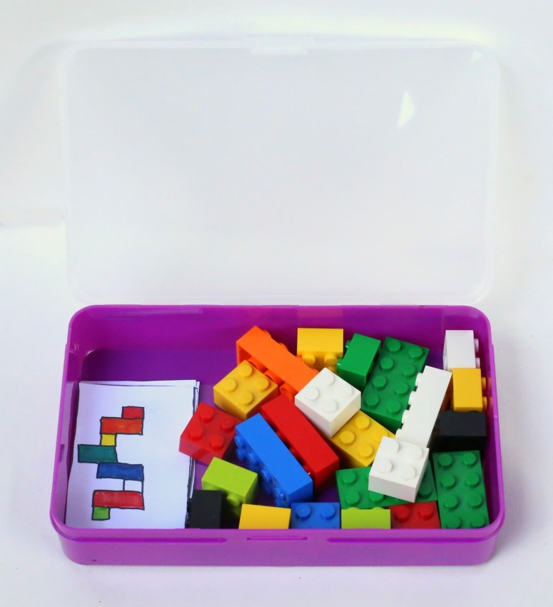Portable Lego Kit with Activity Cards for Toddler Quiet Time