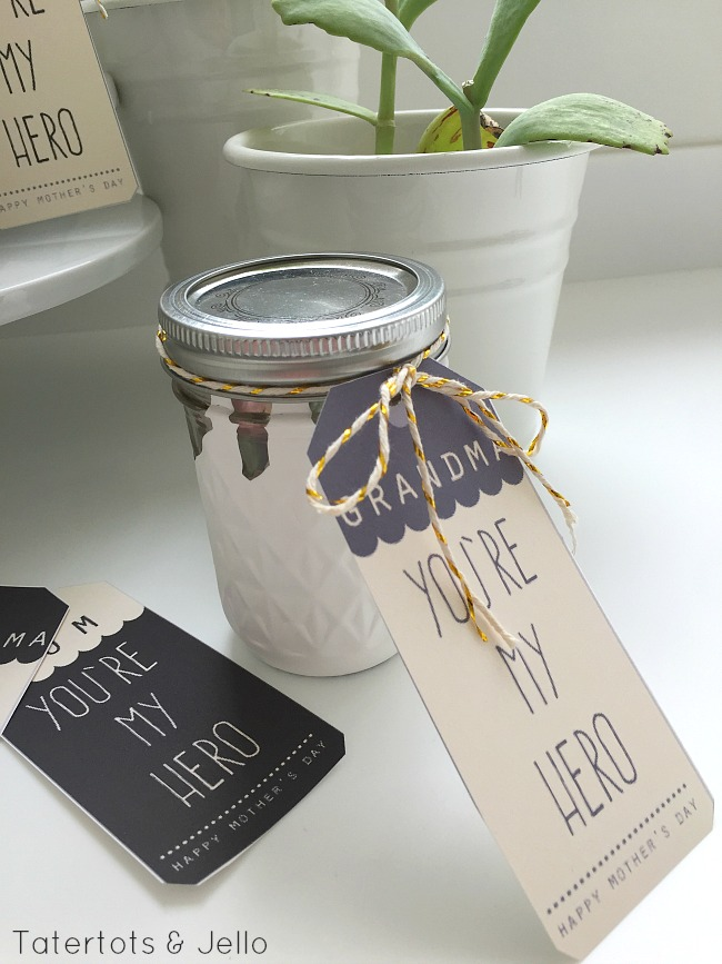 dripped jars tutorial and mothers day printables