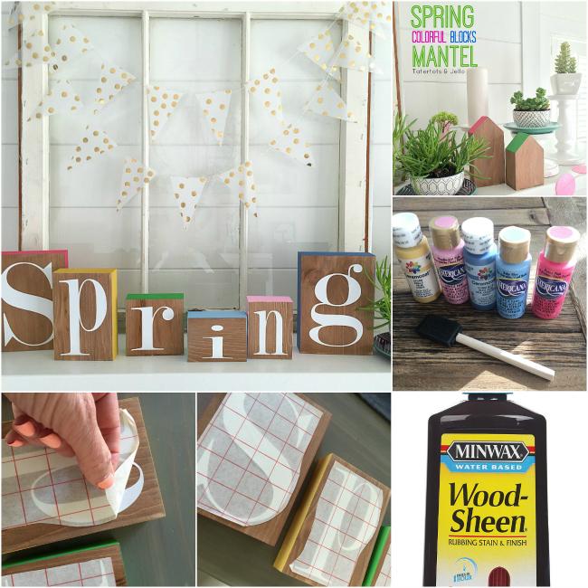 Colorful Spring Block Mantel
