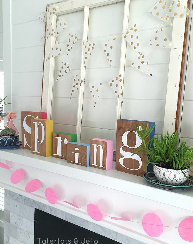 Spring Colorful Blocks and succulents mantel