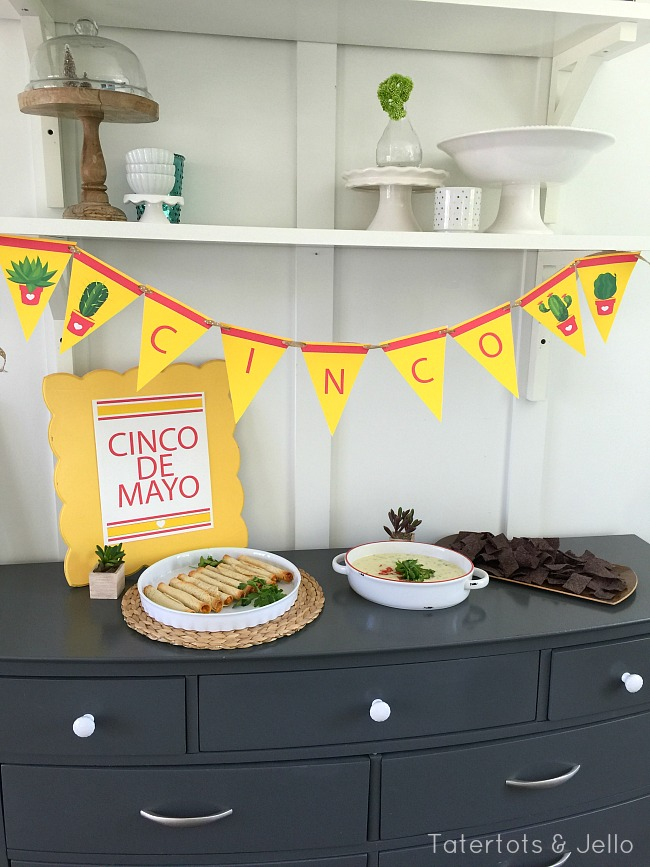 cinco de mayo party printables and queso recipe