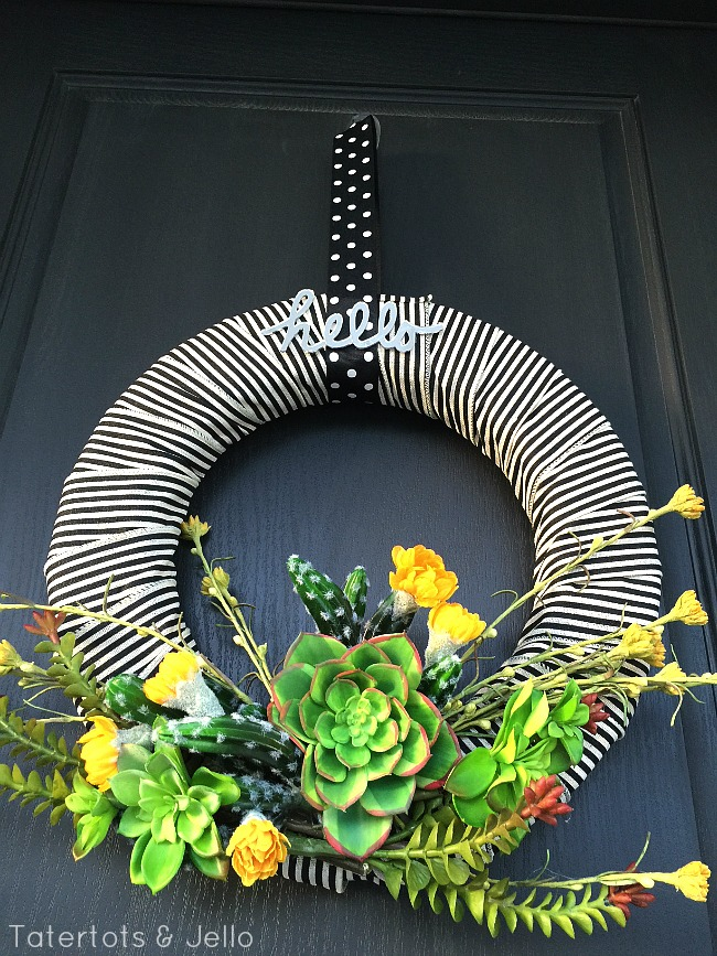 how to make a summer striped succulent wreath