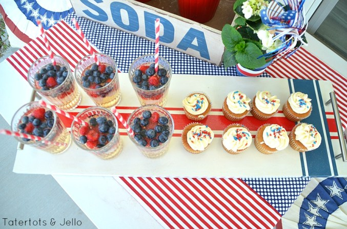 Striped Patriotic Wood Tray