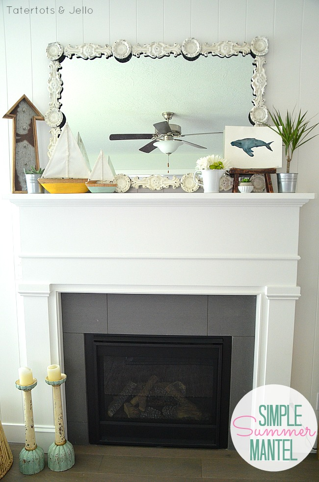 simple summer mantel using found items