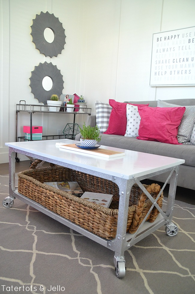 Industrial farmhouse white coffee table makeover