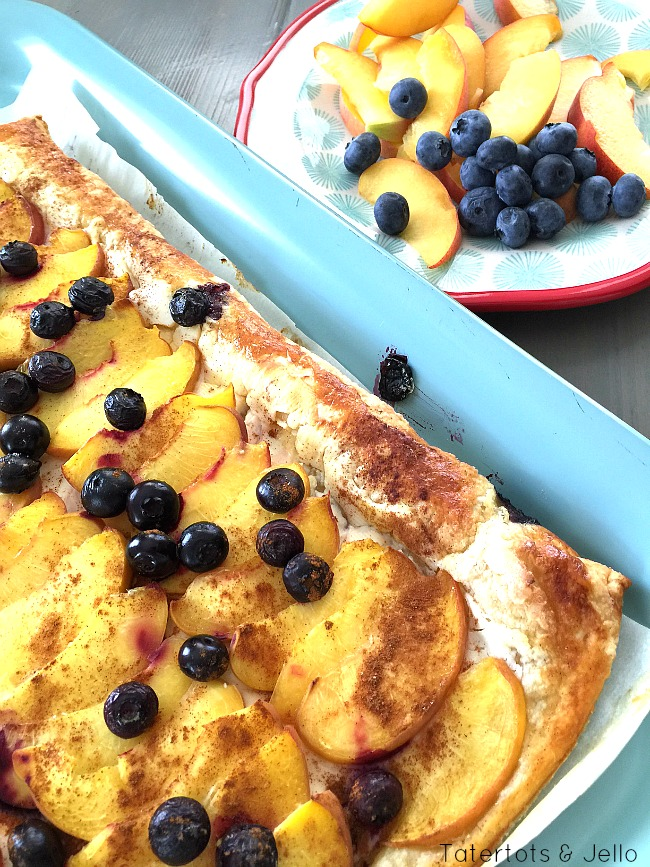 peach and berry phyllo puff pastry tart
