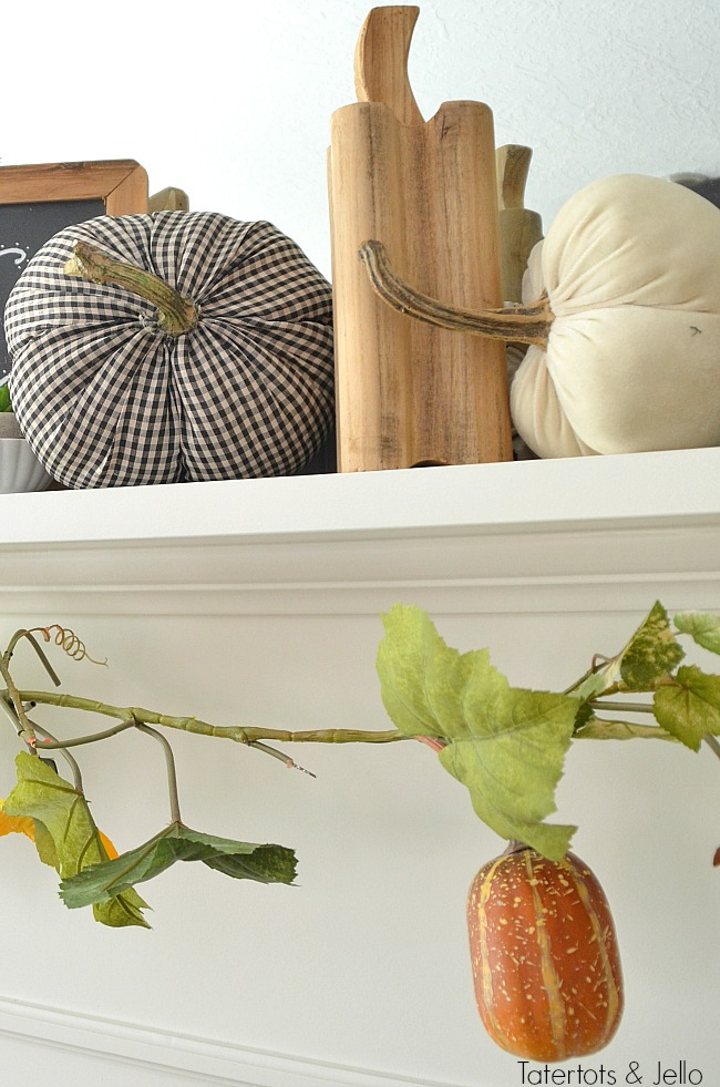 fabric and wood pumpkins