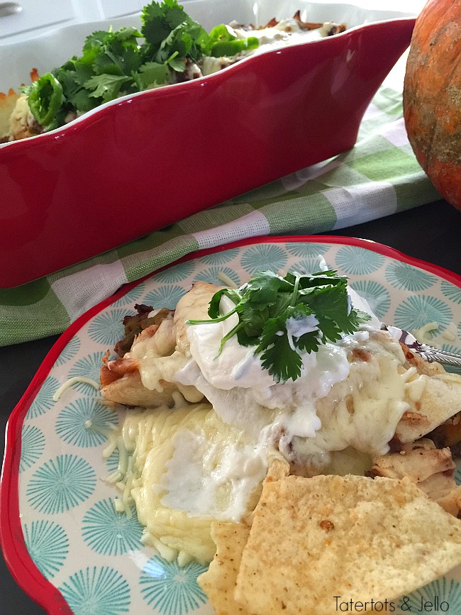 Gooey and delicious pumpkin chicken enchiladas. You will love the combination of carmelized pumpkin and shredded chicken, covered. A perfect fall casserole. Just pop it in the oven for a hearty meal!