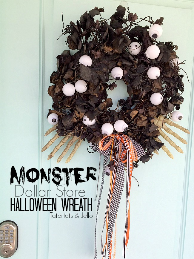 Make a Monster Dollar Store Wreath. All you need are three Dollar Store items and a wreath and you have a spooky wreath to celebrate Halloween!