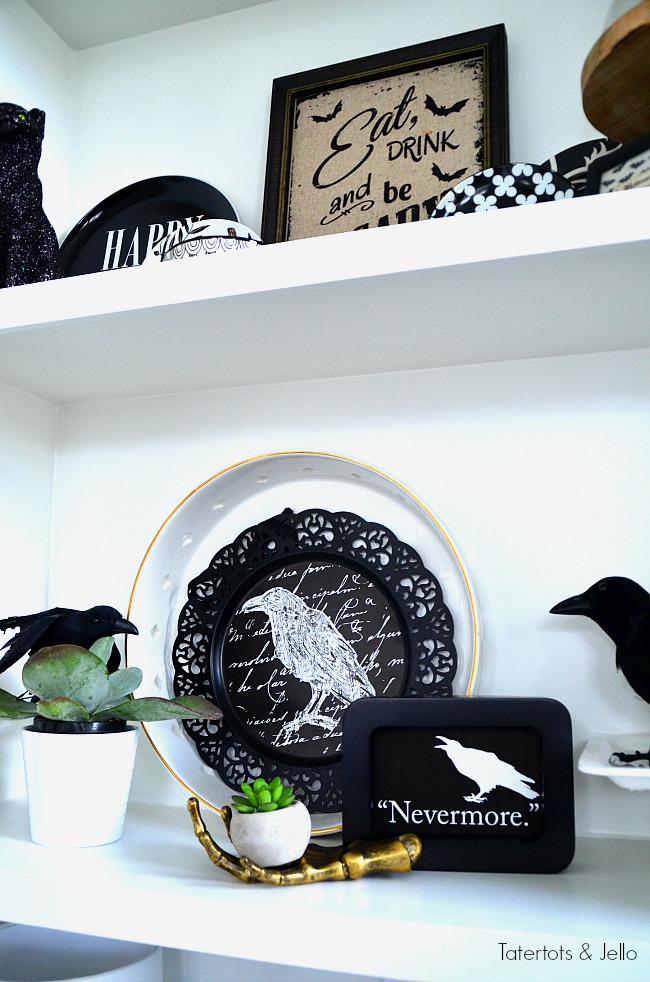 Halloween The Raven Nevermore printable and decor. Create a plate wall or display and print out this Nevermore printable for a spooky vignette!