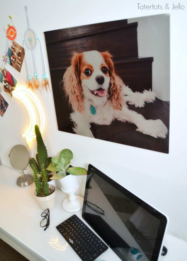 Teen Room Photo Display Ideas. Metal Printed photos are a fun way to blow up a memory or photo of a loved one in a teen room. Also create an easy hanging photo display that can be changed throughout the year!
