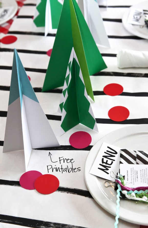Free Printable Mod Christmas Tree Centerpieces