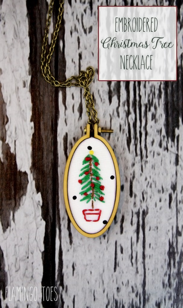 Embroidered Tree Necklace