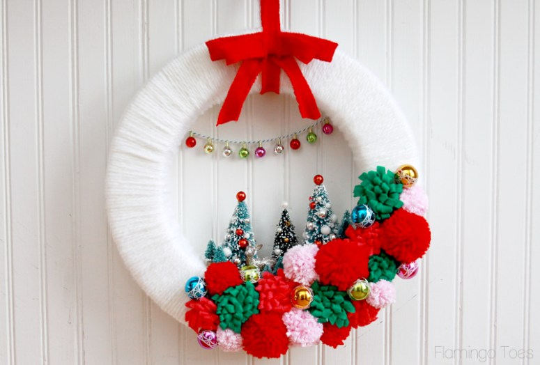 Vintage Retro Winter Wreath