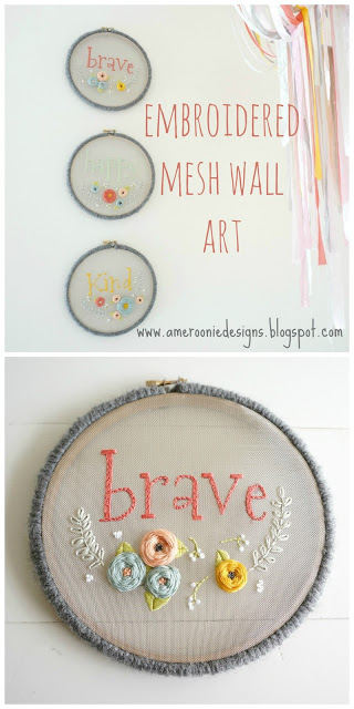 Embroidered mesh wall art