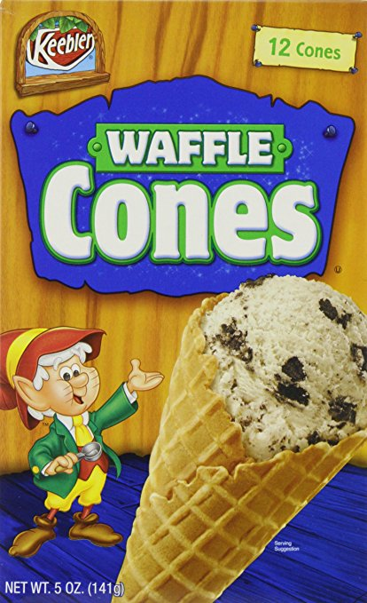 waffle cones for galantines party centerpieces