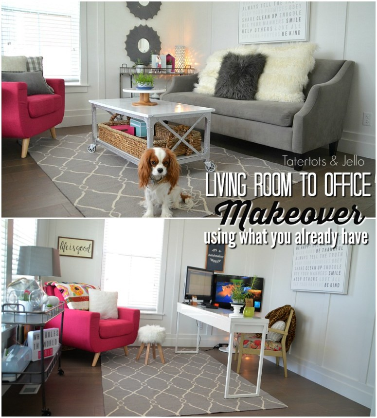 Living room to office makeover. Make the space in your home work for your family. Before and after room makeover.