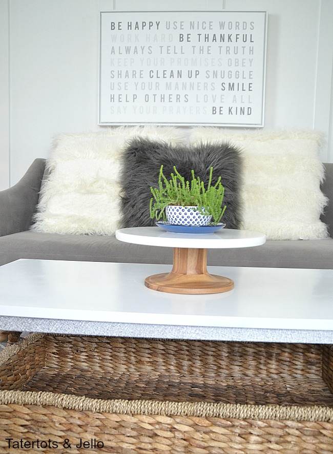 Industrial coffee table makeover with spraypaint BHG Live Better