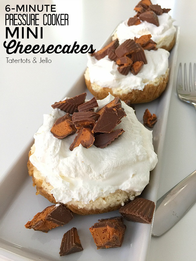 Pressure Cooker Mini Cheesecakes take only SIX minutes to cook and the mini size makes them perfect for individual servings. Wow your guests with these adorable cheesecakes!