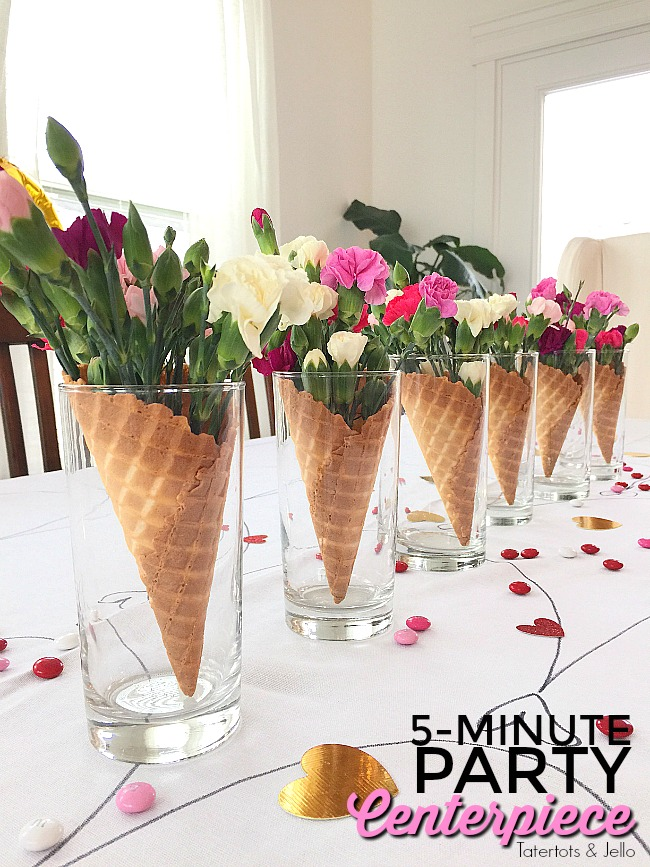 Waffle Cone Flower Centerpieces are so easy to make. In 5 minutes you can have a centerpiece for almost any kind of party including Galantines!