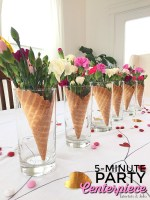 5-Minute Waffle Cone and Flower Galantine's Party Centerpieces